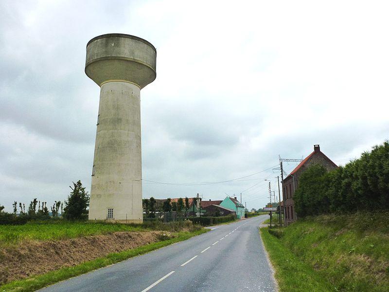 Auchy-aux-Bois (Pas-de-Calais) city limit sign and watertower