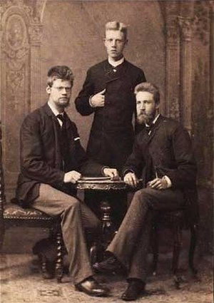 Axel Olrik - Axel Olrik (left) with his brothers Eyvind and Hans, photograph by Ludvig Grundtvig