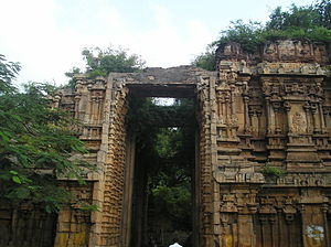 Alagar Koyil - One of the broken gateway towers of the temple
