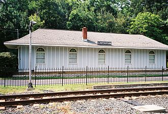 Linthicum, Maryland - The former Linthicum Heights, Maryland (U.S.), station of the defunct Baltimore and Annapolis Railroad and its predecessor Washington, Baltimore and Annapolis Electric Railway, adjacent to the current tracks of the Maryland Transit Administration (MTA) Light Rail