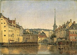 Slotsholmsgade - The Børs Dock in 1845