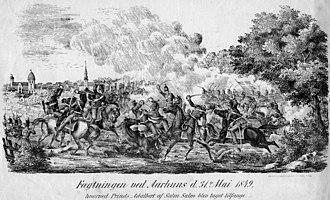 Skirmish of Århus - Fægtningen ved Aarhus (Skirmish at Aarhus) by unknown artist, 1849