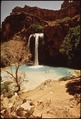 BATHERS ENJOY THE HAVASU FALLS. OWNED BY THE NATIONAL PARK SERVICE (THOUGH IT IS ON THE HAVASUPAI RESERVATION) THIS... - NARA - 544346.tif