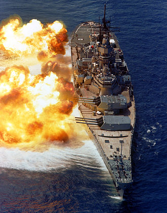Broadside - Image: BB61 USS Iowa BB61 broadside USN