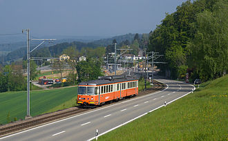 Mutschellen - Railway and road climb the western approach to the pass