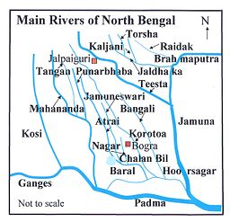 Map of river system in North Bengal