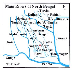 Chalan Beel - Overview map showing Chalan Beel among the main rivers in North Bengal
