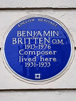 Photo of Benjamin Britten blue plaque