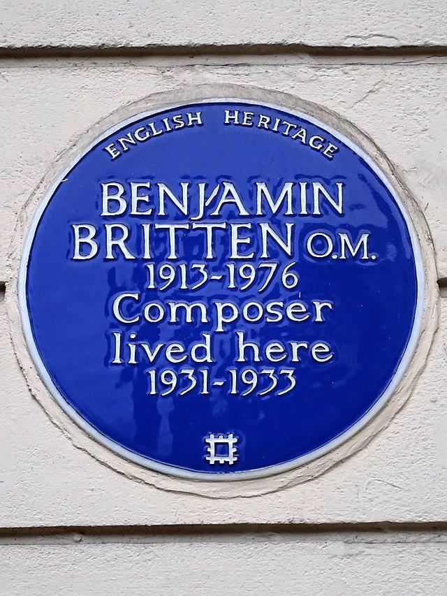 Benjamin Britten blue plaque - Benjamin Britten O.M. 1913-1976 composer lived here 1931-1933