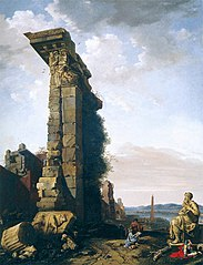 Idealised View with Roman Ruins, Sculptures, and a Port