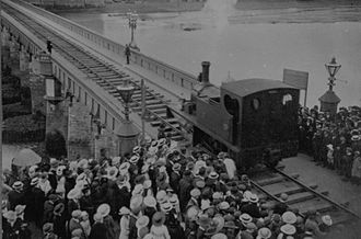 Bideford - A locomotive crossing the Long Bridge.