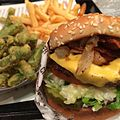 Bacon-cheese Charburger, tempura green beans, fries (15472375463).jpg