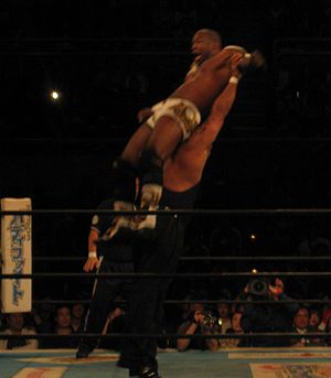 Bad Luck Fale - Fale performing the Bad Luck Fall on Shelton X Benjamin