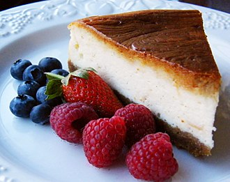 Cheesecake - Image: Baked cheesecake with raspberries and blueberries
