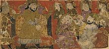 Balami - Tarikhnama - Manuchihr addresses his assembled people and army (cropped).jpg