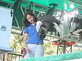 Bald eagle at Oregon Zoo bird show 02.jpg