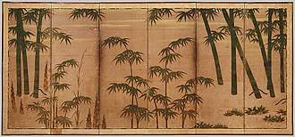 Tosa school - Bamboo in the Four Seasons, Muromachi period (1392–1573) Attributed to Tosa Mitsunobu (1434–1535). Pair of six-panel folding screens; color, ink, and gold on paper; 174.3 × 381.6 cm