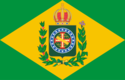 The flag of the Second Empire consisting of a green field in the center of which is a golden lozenge containing the Imperial coat of arms