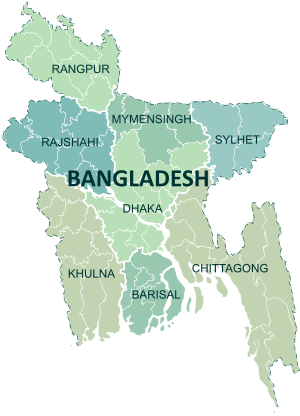 A clickable map of Bangladesh exhibiting its divisions.