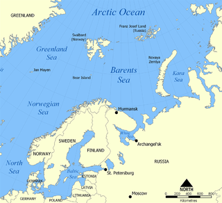 A marginal sea of the Arctic Ocean, off the northern coasts of Norway and Russia