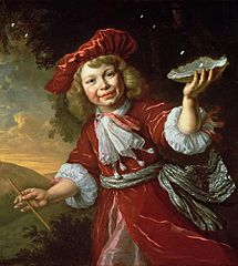 Homo Bulla: A Boy Blowing Bubbles in a Landscape