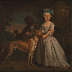A Young Girl with an Enslaved Servant and a Dog