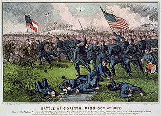 Woodford County, Illinois - Fanciful rendition of the October 1862 Battle of Corinth, Mississippi by lithographers Currier and Ives. Woodford County members of the 47th Illinois Volunteers were part of the fighting, which resulted in combined losses of 828 killed and more than 3,800 wounded and missing.