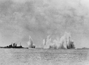 Battle of Java Sea - HMS Exeter under Attack.jpg