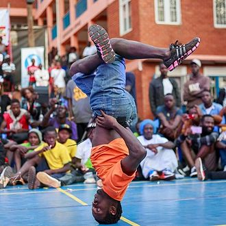 Breakdancing - Bboy DanceMachine at the Breakfast Jam finals in Kampala, Uganda on November 19, 2016