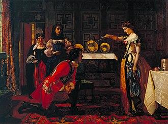 The History of Henry Esmond - Beatrix Knighting Esmond by Augustus Leopold Egg (1857, Tate)