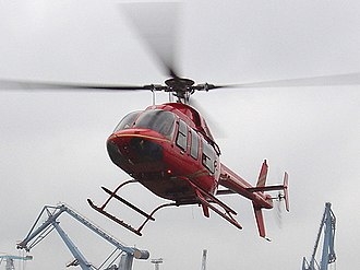 Bell 407 - Bell 407 at Hamburg harbor temporary heliport, Germany
