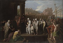 Benjamin West: Agrippina Landing at Brundisium with the Ashes of Germanicu