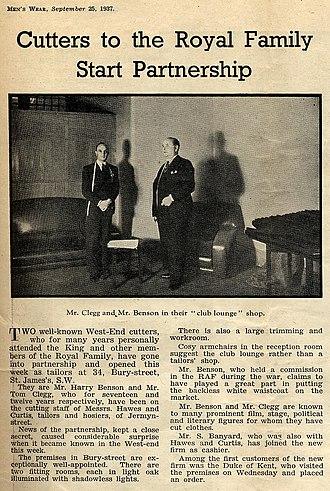 Benson & Clegg - Image: Benson And Clegg Founding Article 1937