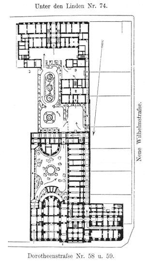 Prussian Military Academy - Lageplan der Kriegsakademie mit dem Lehrgebäude an der Dorotheenstraße und dem aufgrund der vornehmen Lage 1878/79 zu Dienstwohnungen umgebauten Teil Unter den Linden