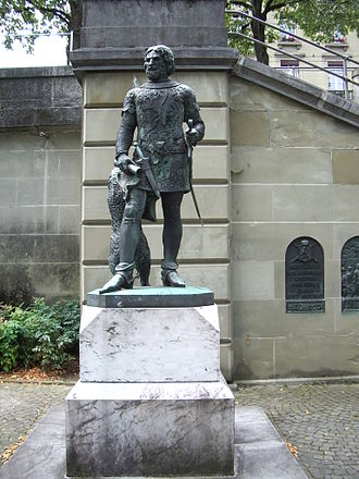 House of Zähringen - Berthold V, shown on the Zähringer monument in Bern, Switzerland