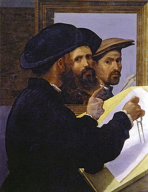 Bernardino Licinio - Portrait of an architect with van a selfportrait of Bernardo Licono in the background (ca. 1520-1530S), Martin von Wagner Museum