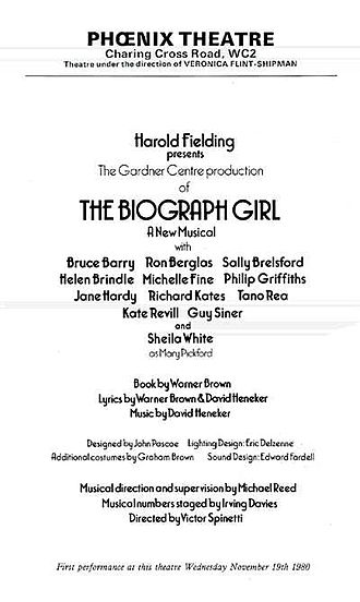 The Biograph Girl - Programme from the 1980 West End production