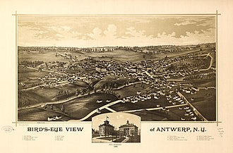 Antwerp, New York - Perspective map of Antwerp from 1888 with list of landmarks and inset image of Ives Seminary, published by L.R. Burleigh