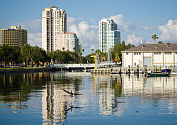 Bird flying over downtown reflection on Mahaffey Theater basin.jpg