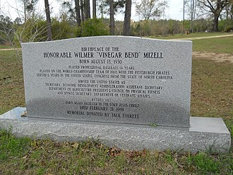 Wilmer Mizell - Birthplace marker and memorial to Mizell