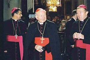 Marian Jaworski - Cardinal Marian Jaworski (middle) with bishops from Lviv: bp. Leon Maly (left) and bp. Marian Buczek (right) in 2006