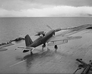 Blackburn Firebrand - A prototype Firebrand TF Mk II taxiing along the flight deck of HMS ''Illustrious'' with its flaps extended during trials