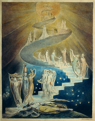 Eternal return - Jacob's Ladder by William Blake (c. 1800, British Museum, London). - Jewish time is linear, has an end and goes up towards spiritual heaven. To step spiritually higher each cyclic year or festive event is well illustrated by this painting, depicting a spiral ladder up.