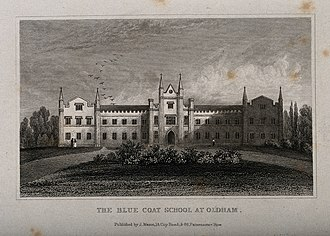 The Blue Coat School, Oldham - A line engraving of the early Blue Coat School