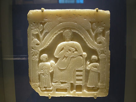 A funerary stela featuring a musical scene, first century CE Bmane2002-1-114,1.jpg