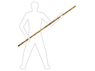 Bō - A traditional rokushakubō is 1.82m (6 shaku) and wielded with both hands, due to its weight and size.