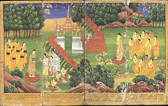 Sangha - Gautama Buddha and his followers, holding begging bowls, receive offerings: from an 18th-century Burmese watercolour