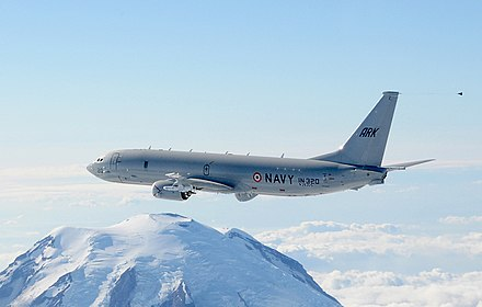 An Indian Navy P-8I Neptune anti-submarine warfare aircraft Boeing P-8I of the Indian Navy.jpg
