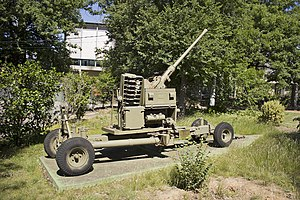 Bofors 40 mm anti-aircraft gun located on the front of the Canberra Services Club site.jpg