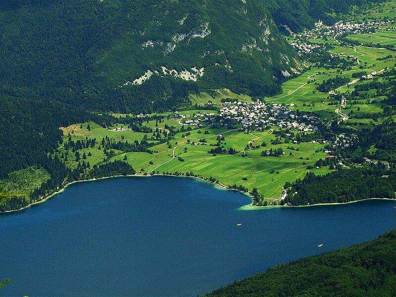 File:Bohinj lakeside from air.jpg